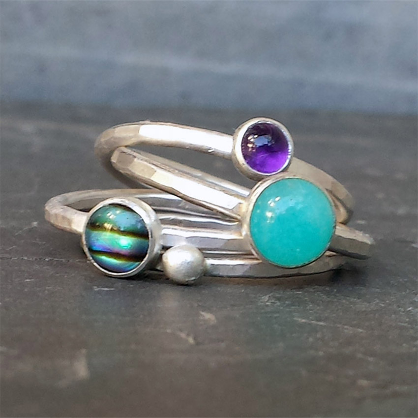 amazonite paua stacking rings