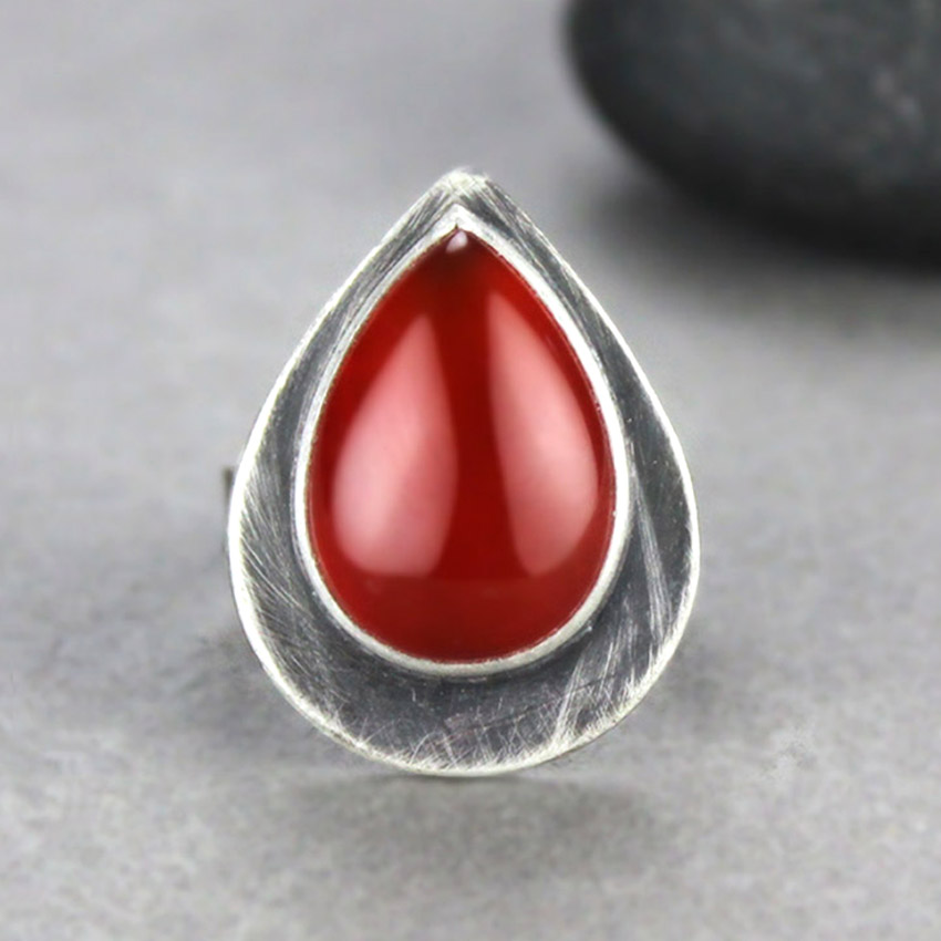 g-carnelian silver teardrop ring