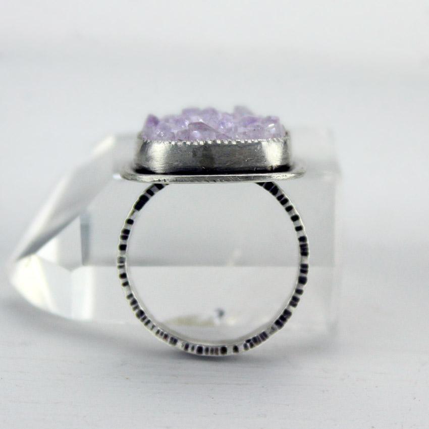 g-pink amethyst druzy ring