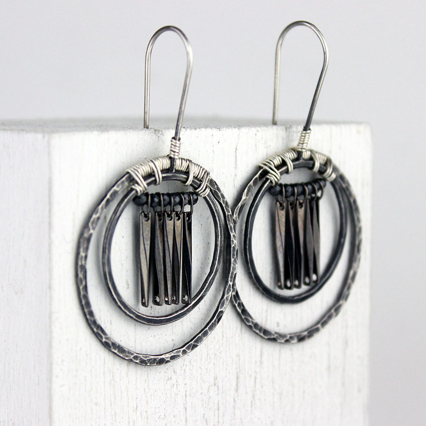 g-tribal hoops gunmetal dangles