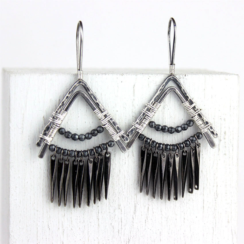 g-tribal triangles gunmetal dangles