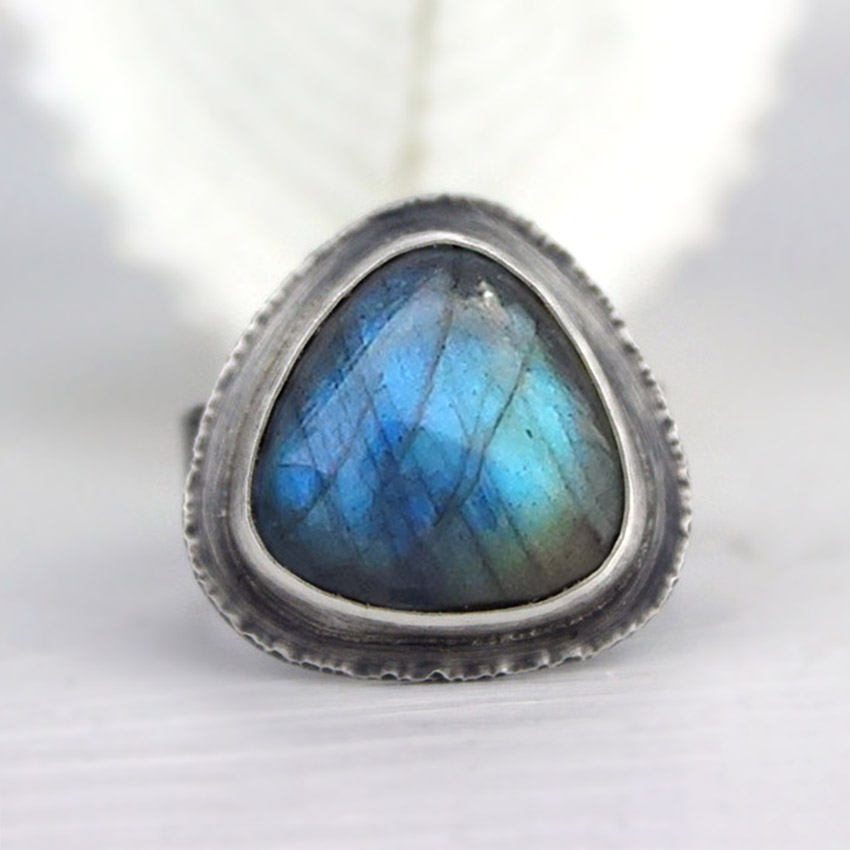 labradorite trillion ring