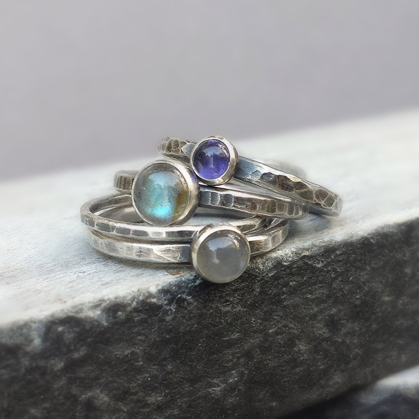 labradorite iolite stacking rings