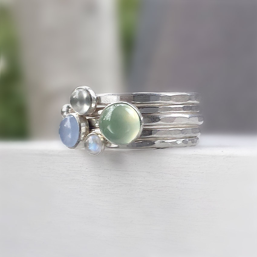 prehnite moonstone stacking rings