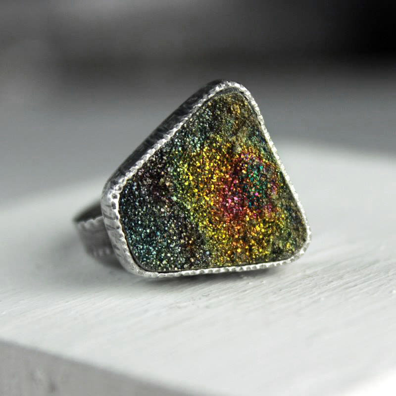 g-rainbow pyrite ring